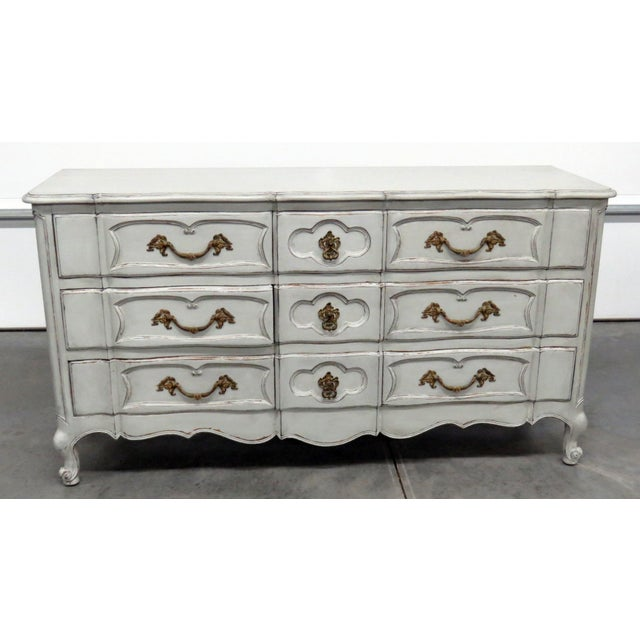 Auffray style 9 drawer distressed paint decorated dresser. Made in the mid 20th century.