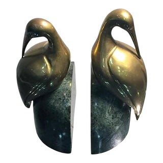 Mid 20th Century Brass Egret on Solid Deep Green Marble Bookends - a Pair For Sale