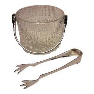 Teleflora Crystal Ice Bucket & Chrome Tongs For Sale