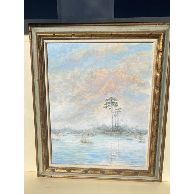 Florida Everglades Acrilic Painting in Pastels Tones. For Sale - Image 11 of 13
