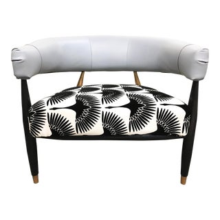 Modern East & West Flock Club Chair For Sale