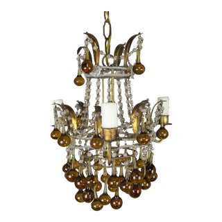 Amber Drop Gilt Metal Crystal Beaded Chandelier, Circa 1930 For Sale