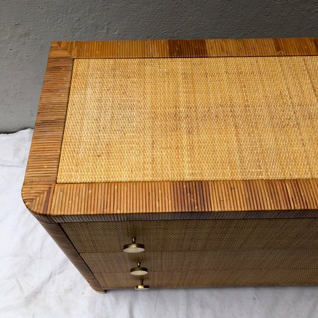 Traditional Rattan Cane and Wicker Chest of Drawers by Bielecky Brothers For Sale - Image 3 of 13