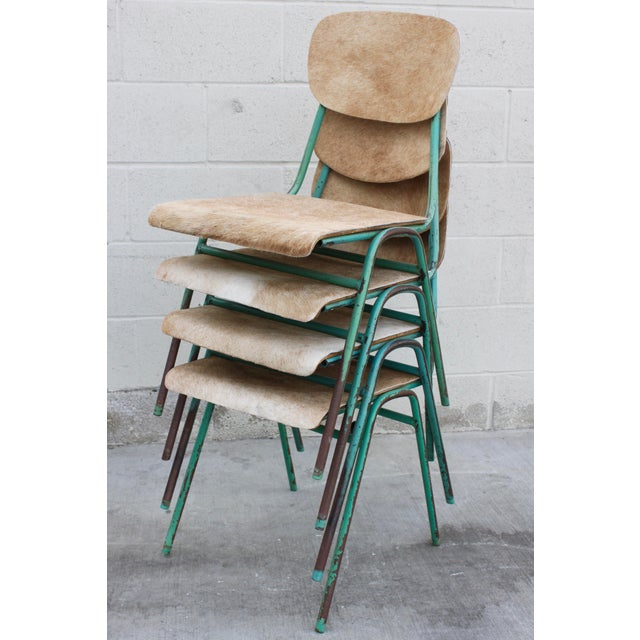 Vintage French Stacking Steel, Bentwood and Leather Schoolhouse Dining Chairs - Set of 4 For Sale - Image 11 of 11