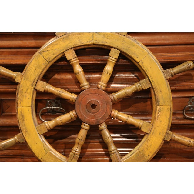 Late 19th Century 19th Century French Carved Walnut and Iron Sailboat Wheel With Old Yellow Paint For Sale - Image 5 of 7