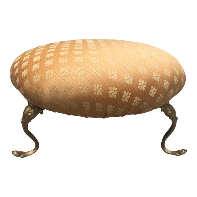 Antique Gold Cushioned Footstool - Image 1 of 7