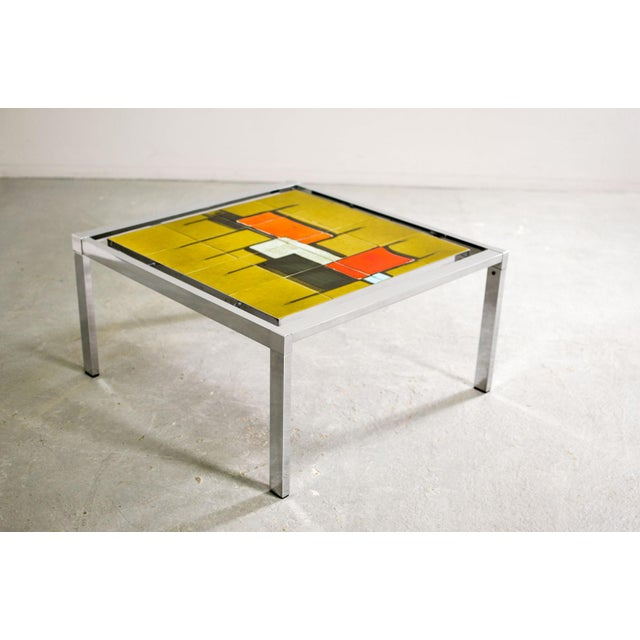 Mid-Century Abstract Design Ceramic Side Table With Chrome Frame, 1970s For Sale - Image 6 of 11