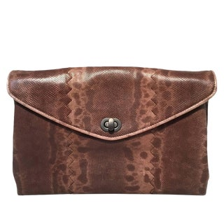 Bottega Veneta Brown Lizard Leather Clutch For Sale