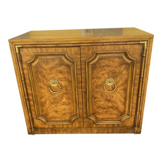 1960s Weiman Faux Bamboo & Brass Cabinet For Sale