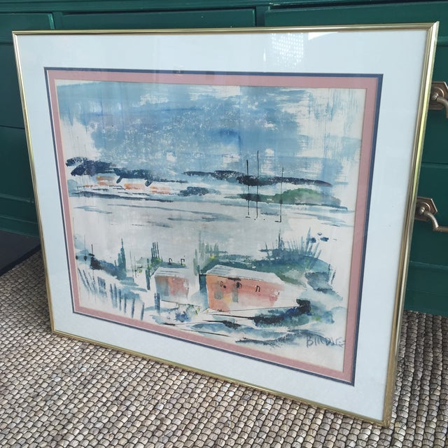 Mid Century Modern Alfred Birdsey Abstract Modernist Ocean Seascape Watercolor Painting Signed - Image 6 of 11