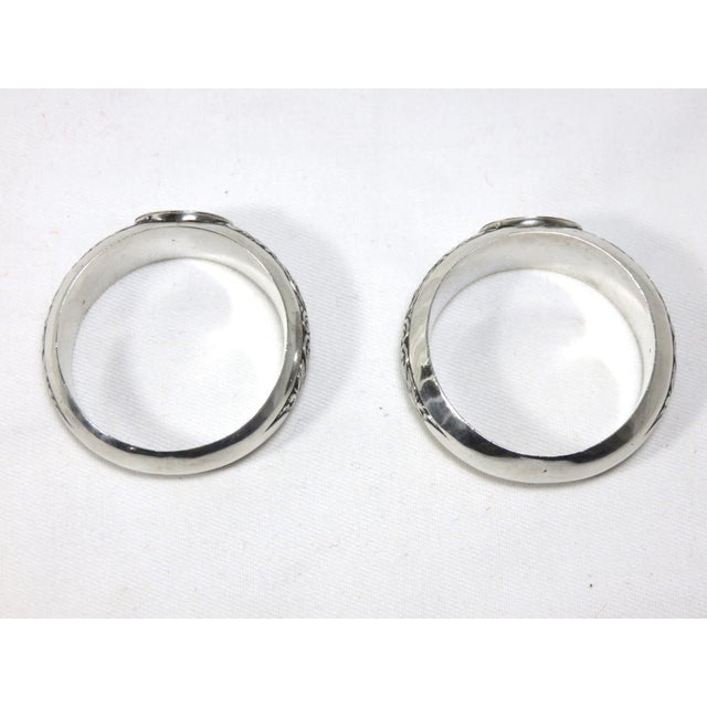 Mid 19th Century 1850s Vintage Coin Silver Napkin Rings - a Pair For Sale - Image 5 of 7