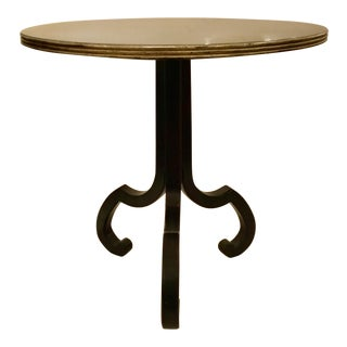 Swaim Co. Transitional Black Wood Round End Table For Sale