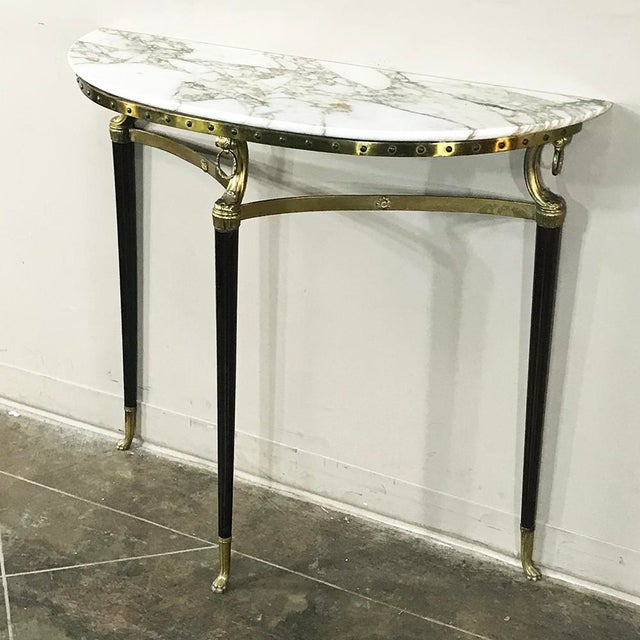 Mid-Century Inlaid Marble & Brass Demilune Console For Sale In Dallas - Image 6 of 12