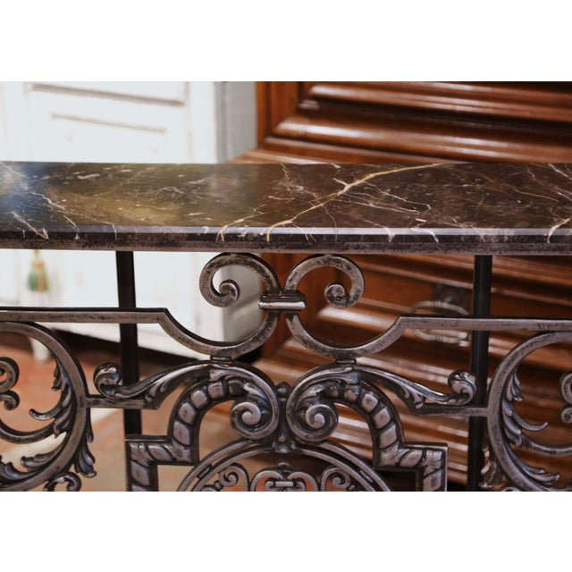 18th Century French Louis XV Polished Iron Console Table With Grey Marble Top For Sale - Image 4 of 13