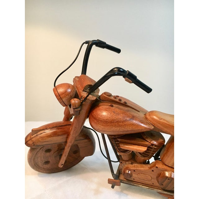Wood Mid-Century Modern Wooden Model Motorcycle Replica For Sale - Image 7 of 9
