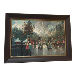 1950s Vintage M. Castell French Cityscape Signed Painting For Sale