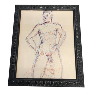Original Male Nude Colored Ink Study Drawing Mid Century For Sale