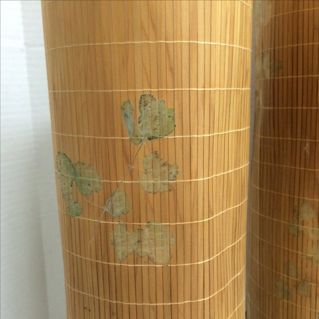 Mid Century Lamps, Painted Bamboo Shades - Pair - Image 3 of 11