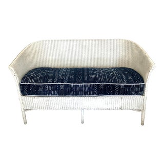 1930s White Wicker Loveseat For Sale