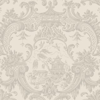 Chippendale China Classic Damask Style Wallpaper - 11 Yards For Sale