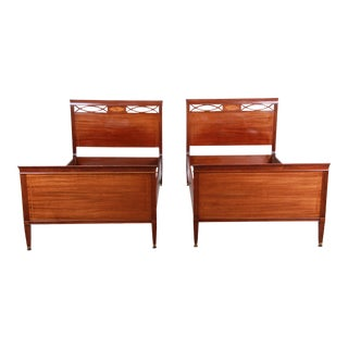 Federal Style Inlaid Mahogany Twin Beds by Kindel Furniture - a Pair For Sale