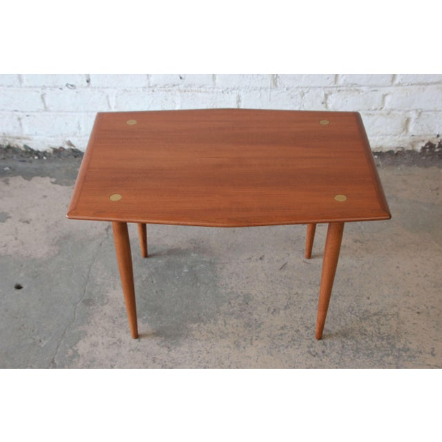 Mid-Century Modern Swedish Modern Teak and Brass Side Table by Dux For Sale - Image 3 of 10