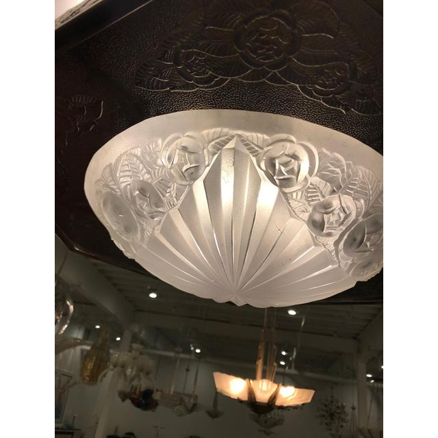 French Art Deco Floral Chandelier Signed by Degue For Sale - Image 11 of 13