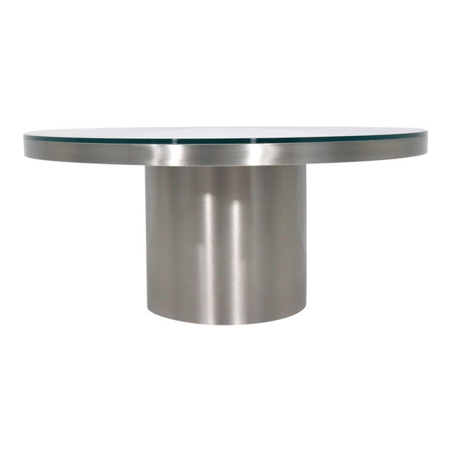 Modern Brueton Brushed Stainless Steel Coffee Table For Sale