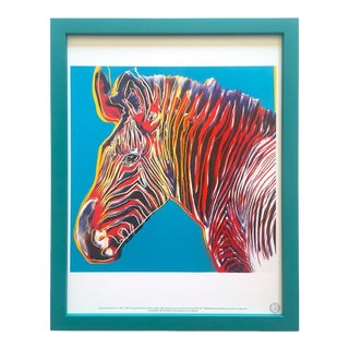 "Andy Warhol Estate Vintage 1989 Endangered Species Framed Lithograph Print "" Grevy's Zebra "" 1983 For Sale"