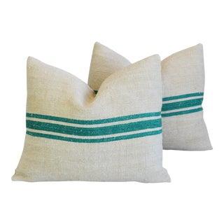 "French Green Striped Grain Sack & Velvet Feather/Down Pillows 21"" X 18"" - Pair For Sale"