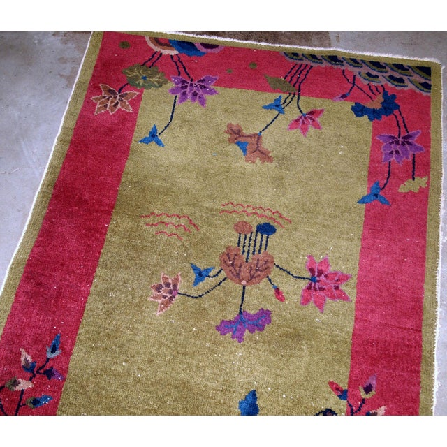 Green 1920s, Handmade Antique Art Deco Chinese Rug 3.1' X 4.10' For Sale - Image 8 of 11