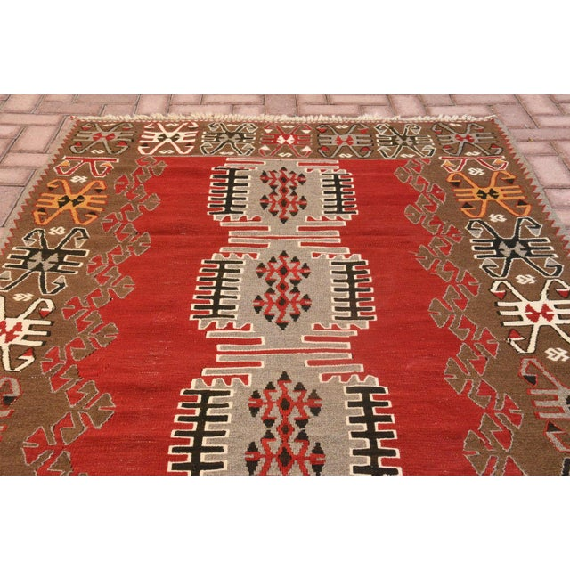 9x4 Ft Antique Turkish Traditional Kilim Rug Oushak Geometric Design Red Color Kilim Oriental Tribal Wool Kilim Rug For Sale - Image 4 of 6