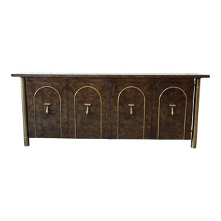 1970s Vintage William Doezema for Mastercraft Brass & Burled Carpathian Elm Credenza For Sale