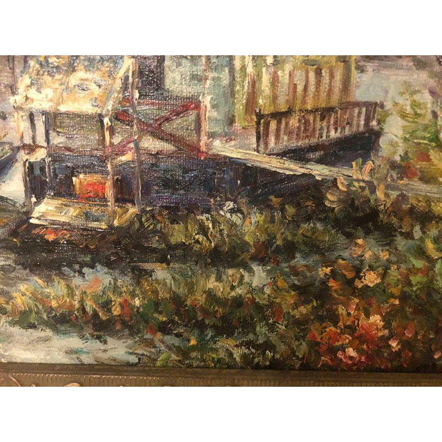 Canal Scene Oil on Canvas Painting Signed For Sale - Image 4 of 8
