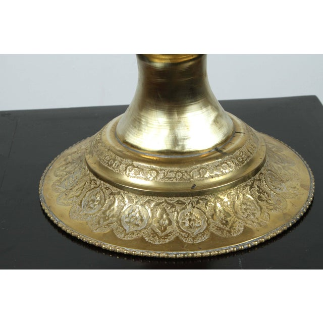Tall Persian Polished Brass Decorative Urn For Sale In Los Angeles - Image 6 of 8