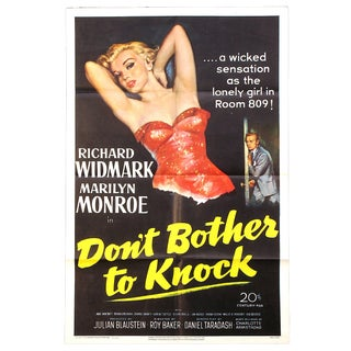 "Marilyn Monroe Stars in This 1952 Feature Film Poster: ""Don't Bother to Knock"". For Sale"
