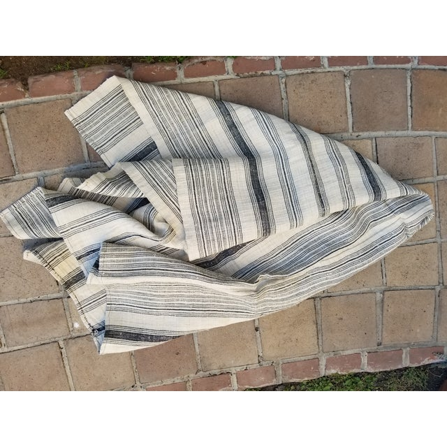 Hand Spun Black Stripe Linen Throw For Sale In Los Angeles - Image 6 of 7