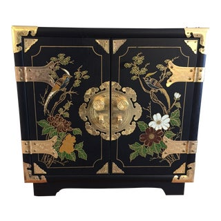 1970s Chinese Ebonized Hand Painted Jewelry Cabinet For Sale