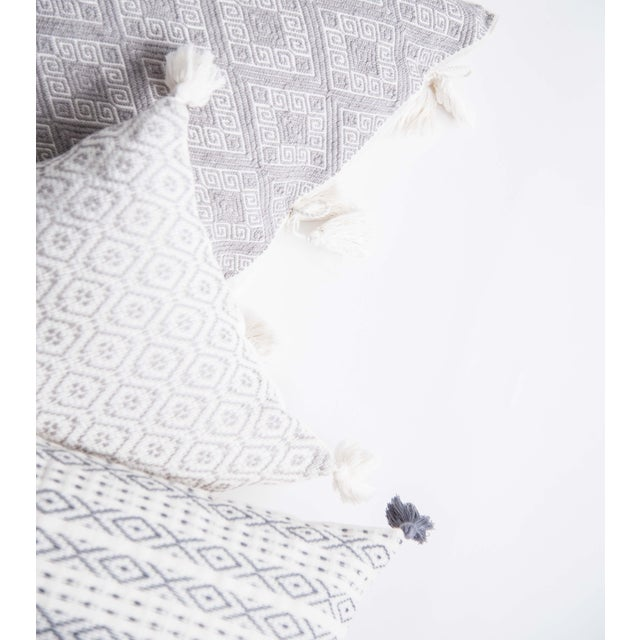 Mexican Grey Handwoven Pillow - Image 3 of 7
