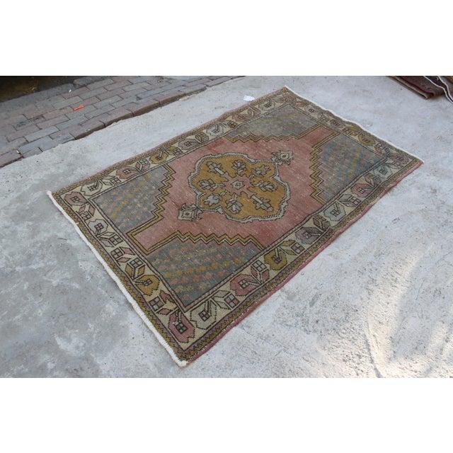 Islamic Vintage Bohemian Oushak Rug - 3′7″ × 5′7″ For Sale - Image 3 of 6