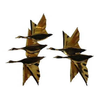1960s Brutalist Brass Flying Geese Ducks Metal Wall Art - 2 Pieces