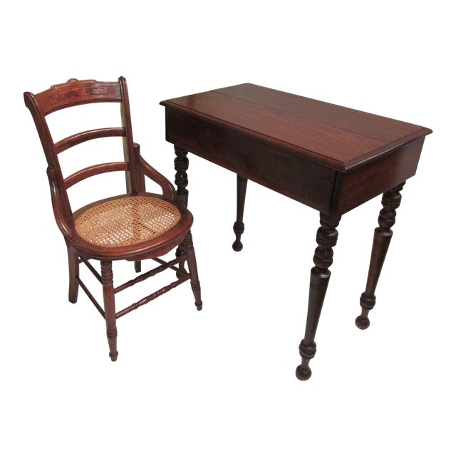 1930s Children's Spinet Flip Top Walnut Writing Desk with Caned Chair For Sale