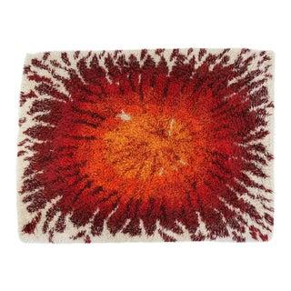 1970s Mid-Century Modern Rectangular Red Orange Shag Area Rug Carpet - 5′ × 3′8″ For Sale