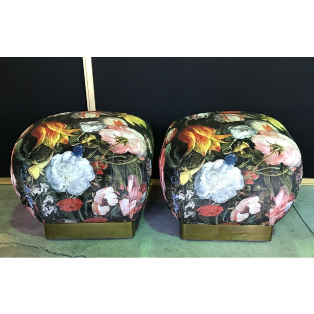 These Sweet floral Poufs add a big statement to your space. Newly upholstered Velvety printed floral fabric. The satin...