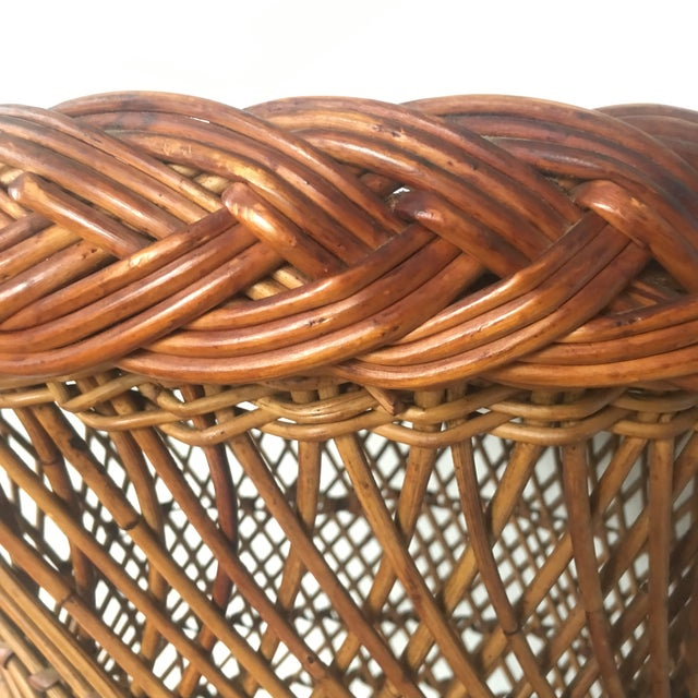 1970s Vintage Bielecky Brothers Boho Rattan Round Coffee / Side Table For Sale - Image 5 of 13