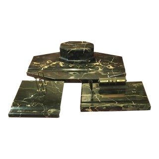 Art Deco Large Italian Portoro Marble Stamped 3 Piece Desk Set For Sale