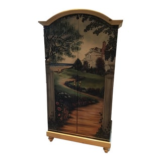 Contemporary Painted Armoire Cabinet For Sale