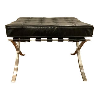 Contemporary Regina Andrews Soho Black Leather Ottoman
