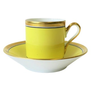 Italian Yellow and Gold Espresso or Tea Cup & Saucer by Designer Richard Ginori For Sale