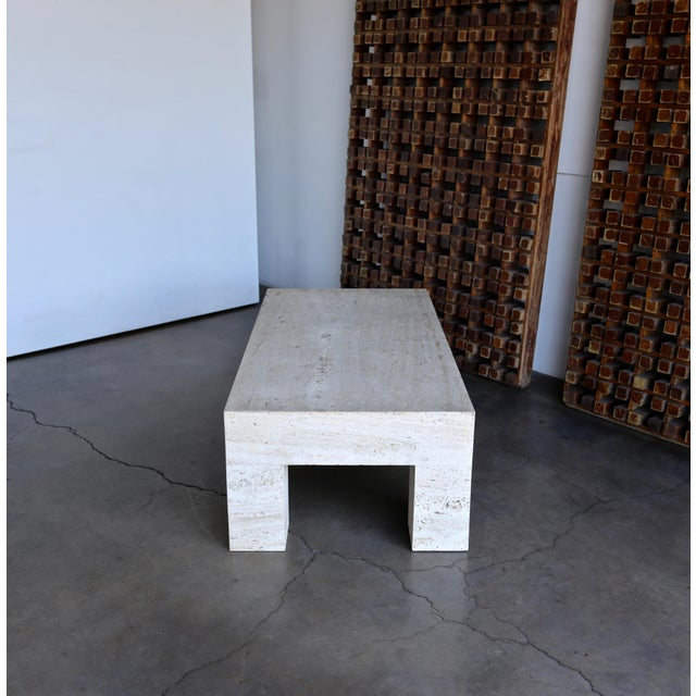 Stone Travertine Coffee Table 1980 For Sale - Image 7 of 11
